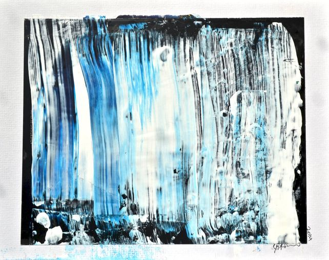 Waterfall 3 - Blue and White on Black