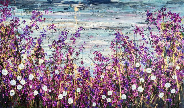 The Lavender Fields - Very large oil painting