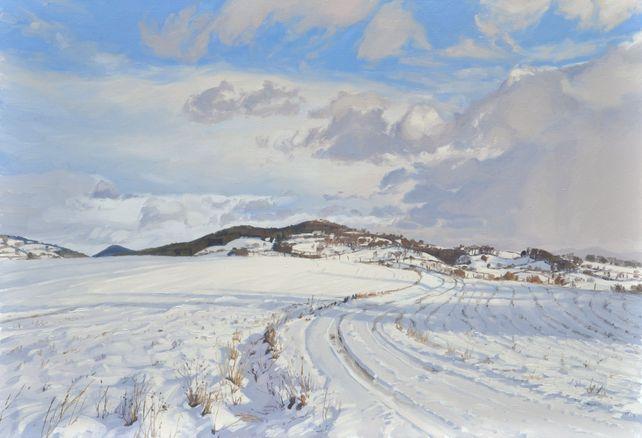 Snow on the Velay mountains