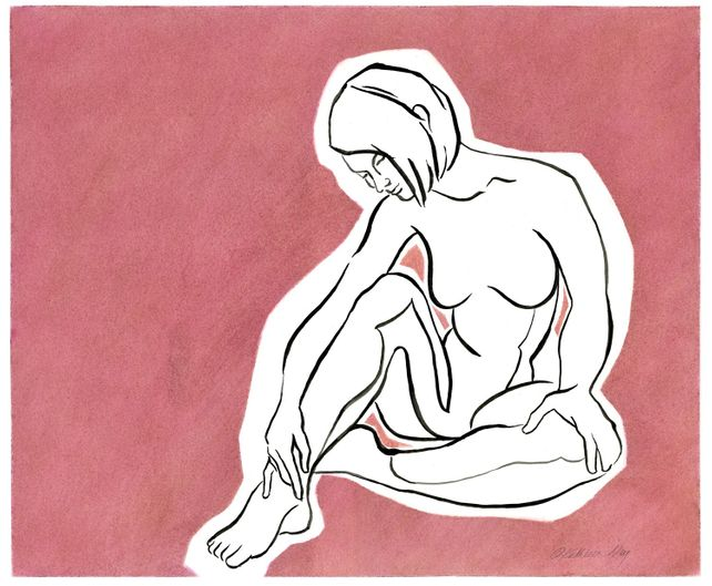 Female Figure in Pink, ink and pastel drawing
