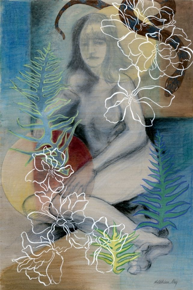 Eve in the Garden, mixed media painting