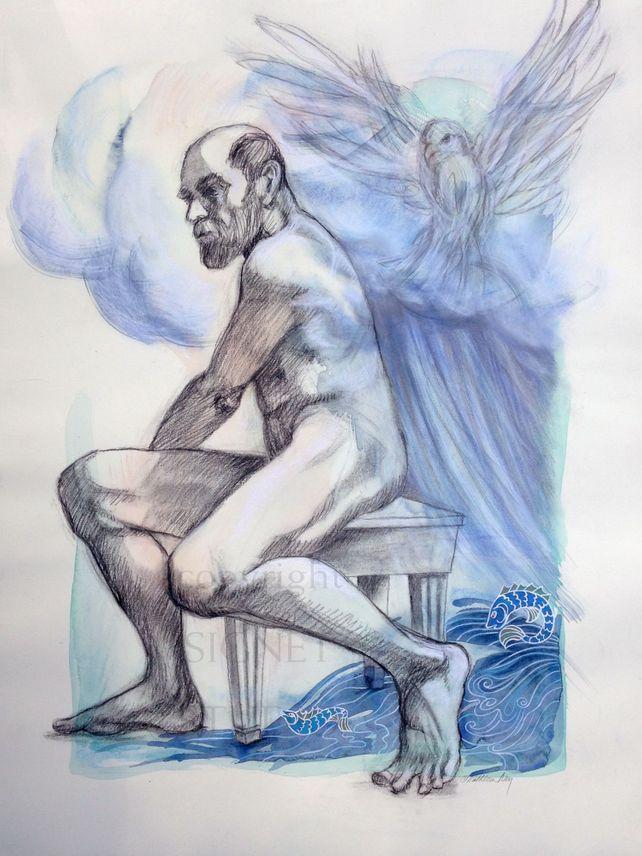 Zeus Summoning Typhon - mixed media drawing