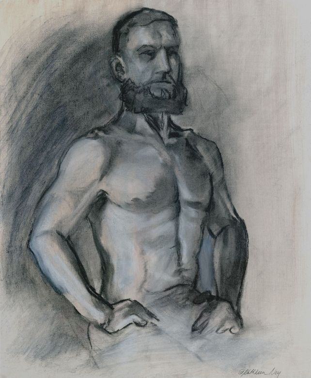 Bearded Man, charcoal drawing
