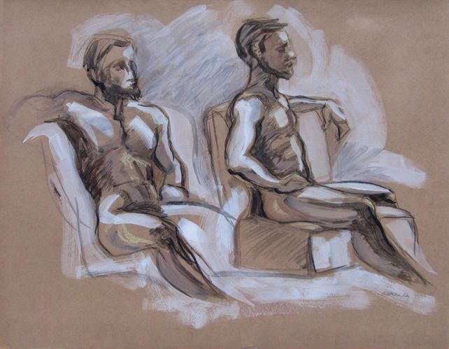 Seated Male Figure x Two