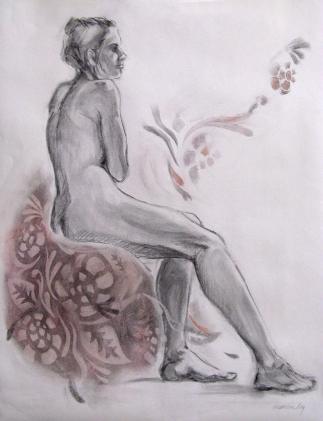 Figure with Tapestry, charcoal & pastel drawing