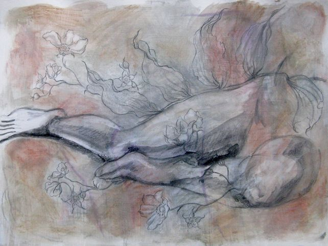 Mixed Media drawing, botanical and figure
