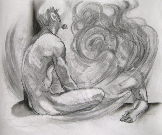 Fading Memory charcoal drawing