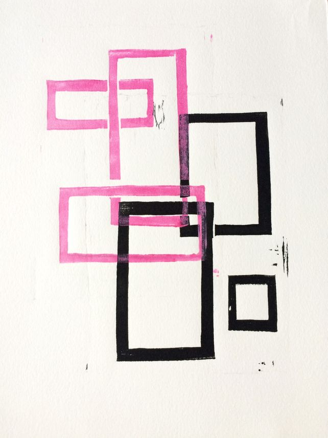 Pink and Black Squares x 2