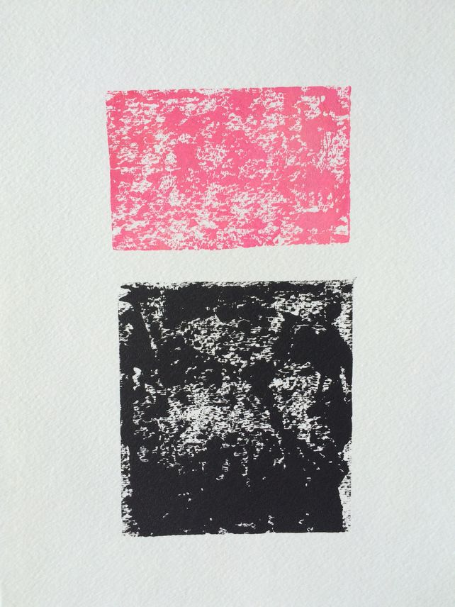 Black and soft pink abstract linocut