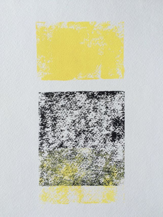 Yellow and Black abstract 9x12 block print