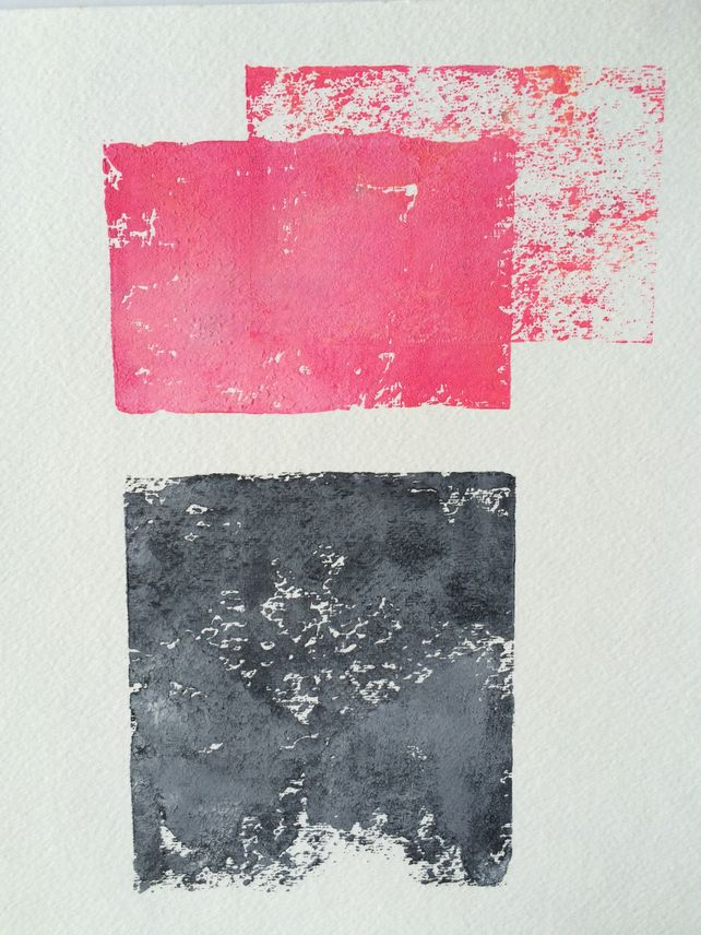 Blood Pink and Grey Abstract linocut