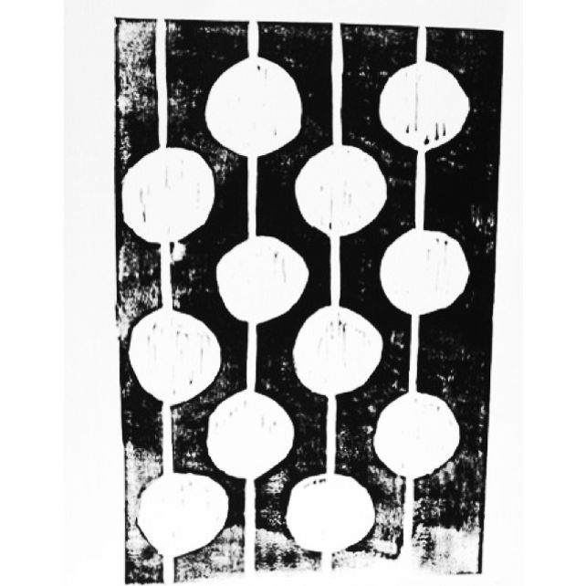 Bulbs Black and White Linocut