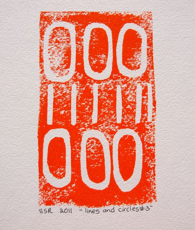 Bright Orange Lines and Circles linoprint