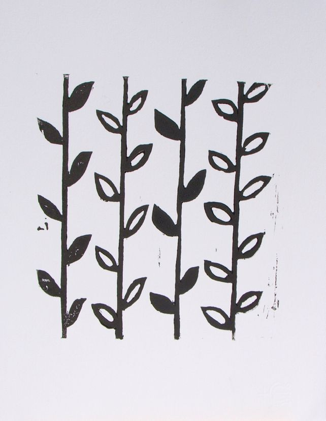 Black and White Flower Stem Linoprint