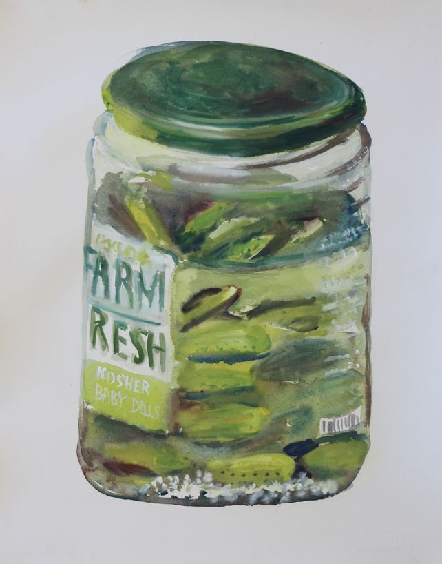Still life of a jar of pickles