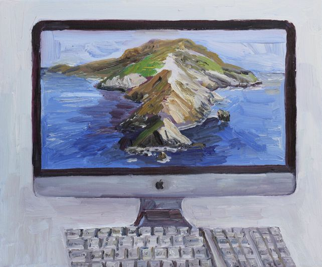 Imac computer with Catalina Island on the screen