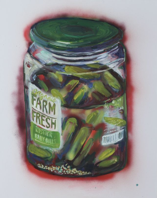 Still life of a jar of pickles #2