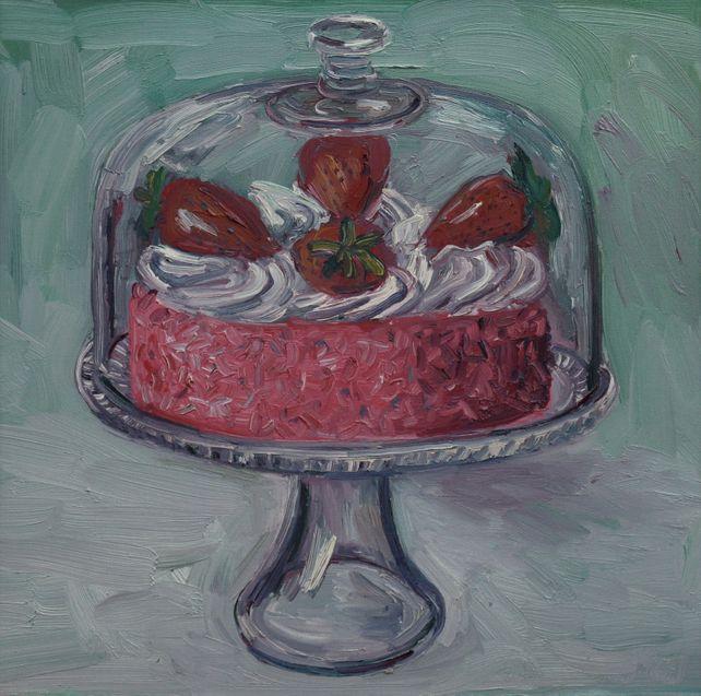 Strawberry Cake under glass