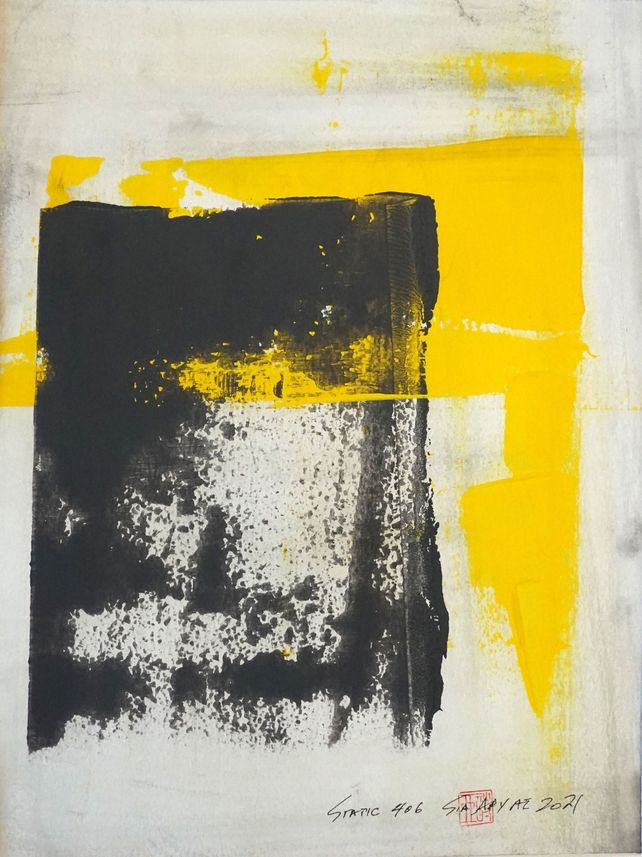 Static 406 Striking abstrac yellow framed painting