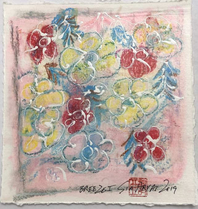Breeze . I   One of a kind red flower  painting