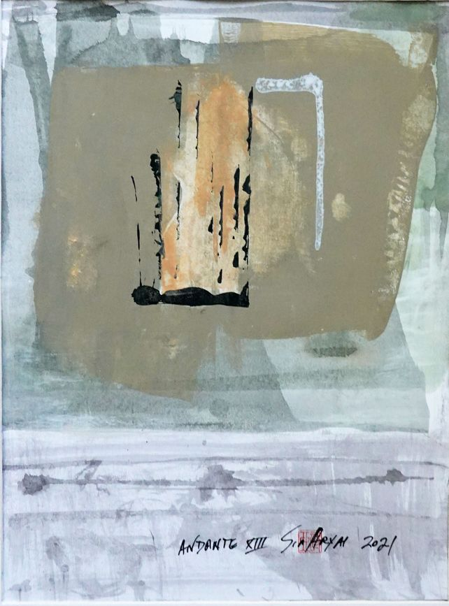 Andante XIII minimal abstract framed painting