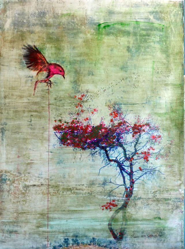 Swing XXIV  Abstract surreal bird  nesting