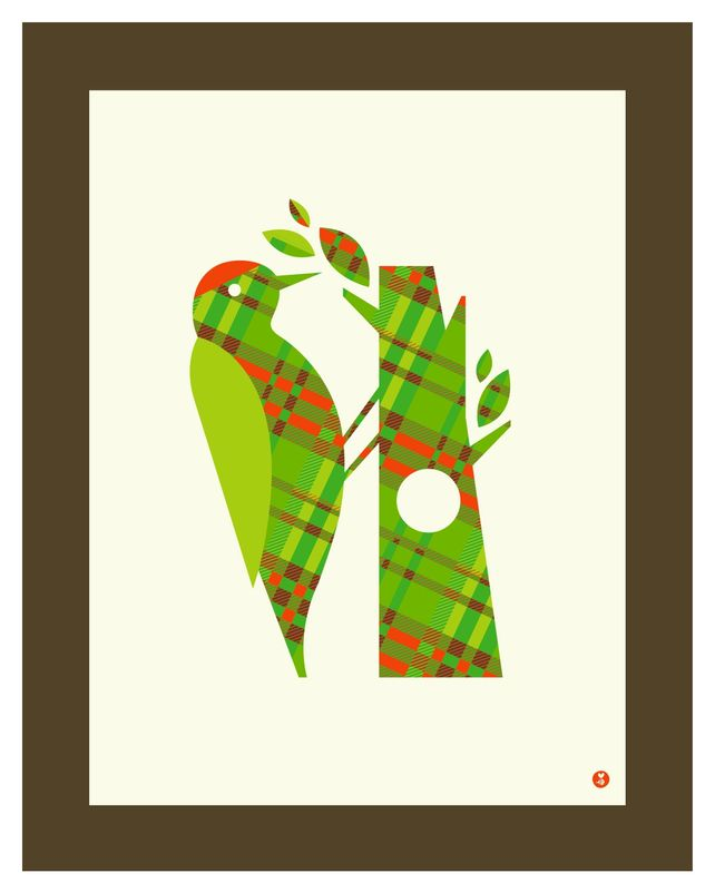 pattern series: plaid woodpecker