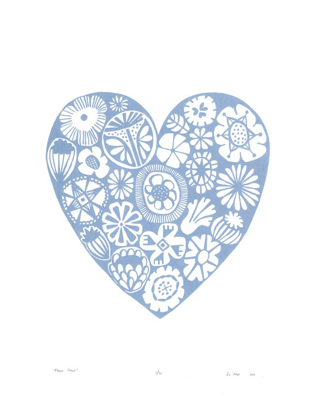 Flower Heart Limited Edition Print - Serenity Blue