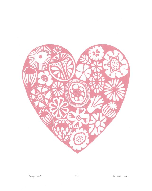 Flower Heart Limited Edition Print - Rose Quartz