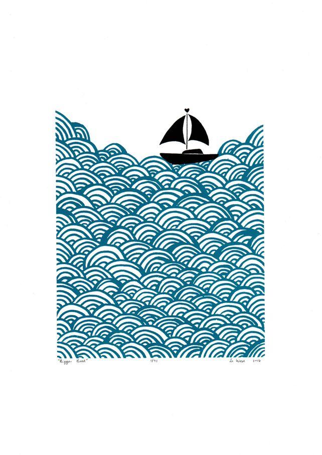 Bigger Boat Print in Petrol Blue