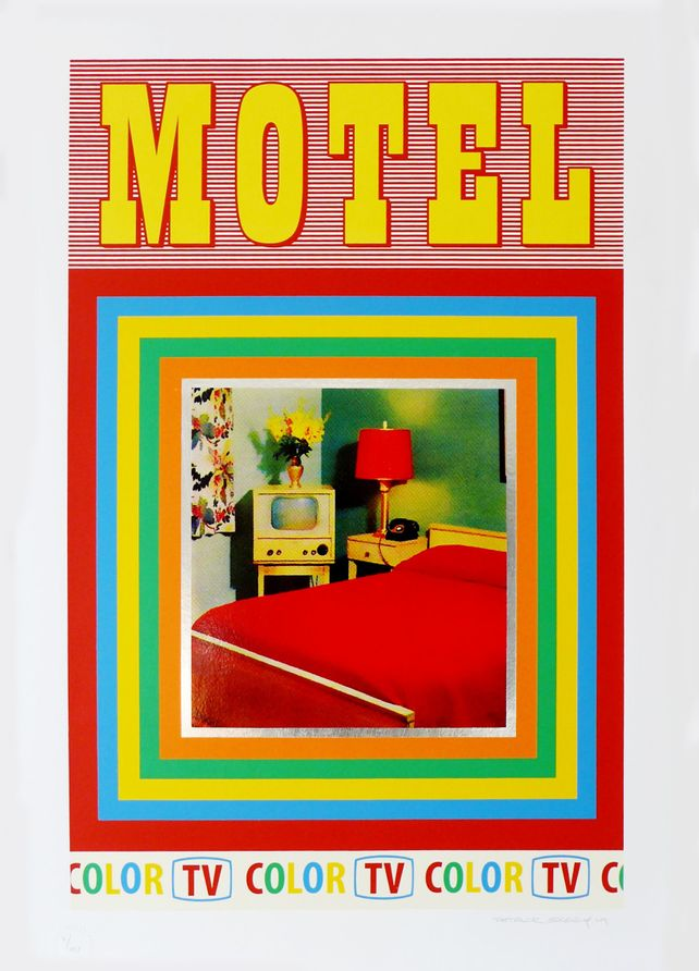 Motel (screen print version with silver leaf)