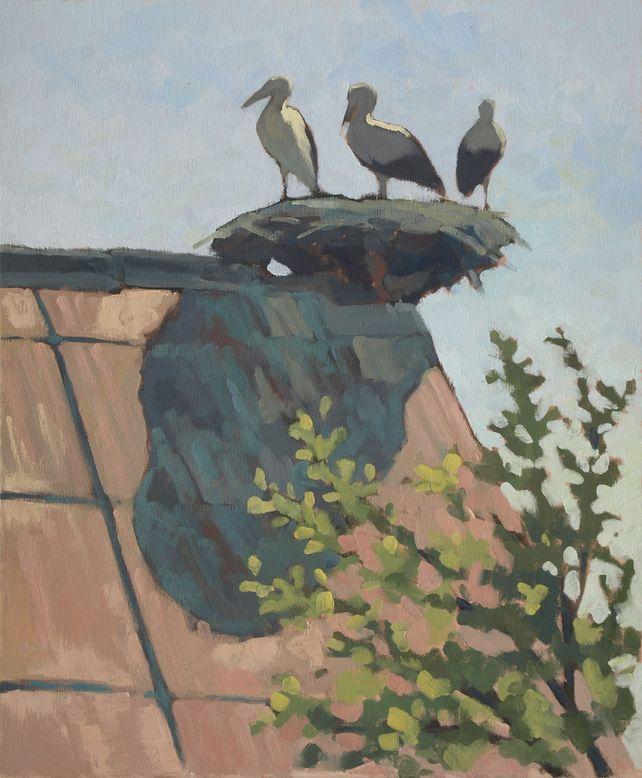 storks on roof