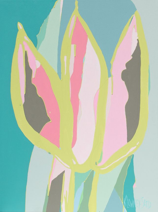 Tulip Mania #12 Pink and Teal