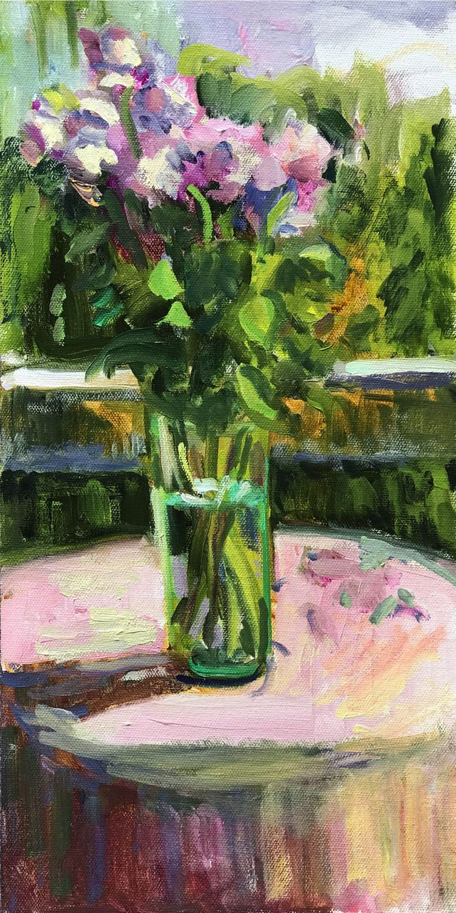 Pink Roses on Pink Cloth on  the Porch