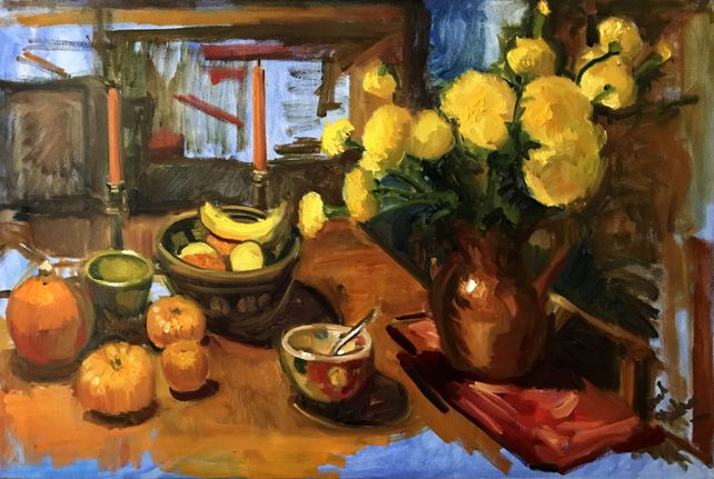 Yellow Marigolds, Bananas