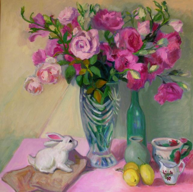 Pink Lisianthus with Bunny