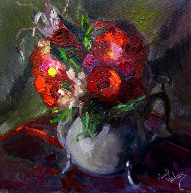 Red Roses In Tea Kettle, Olive and Black Red Groun