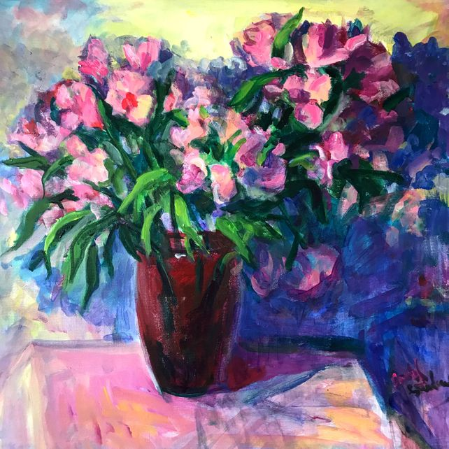 Alstroemeria in Red Vase Two