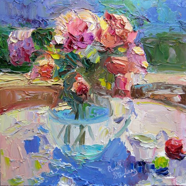 Lavender and Brown Roses in Glass Pitcher, Noon
