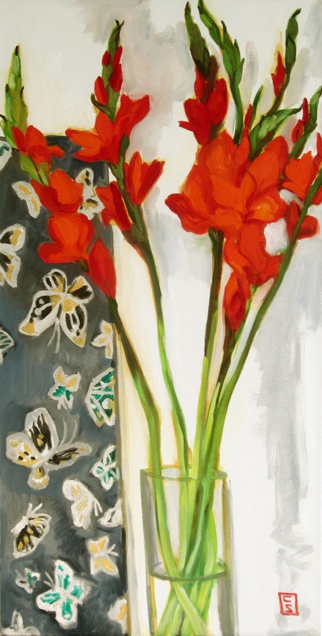 Gladioli and Butterflies