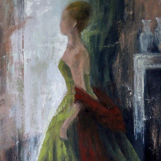 Green Dress and Red Shawl