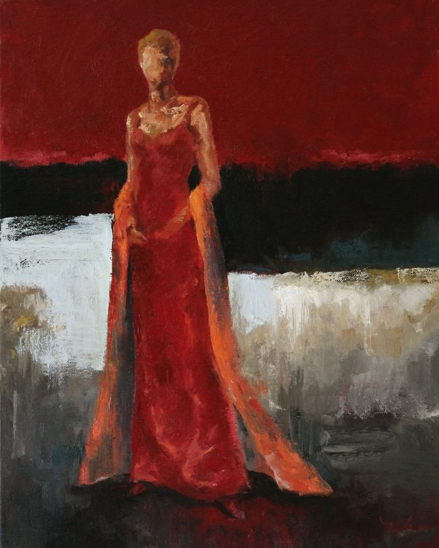 Red Dress with Orange Shawl