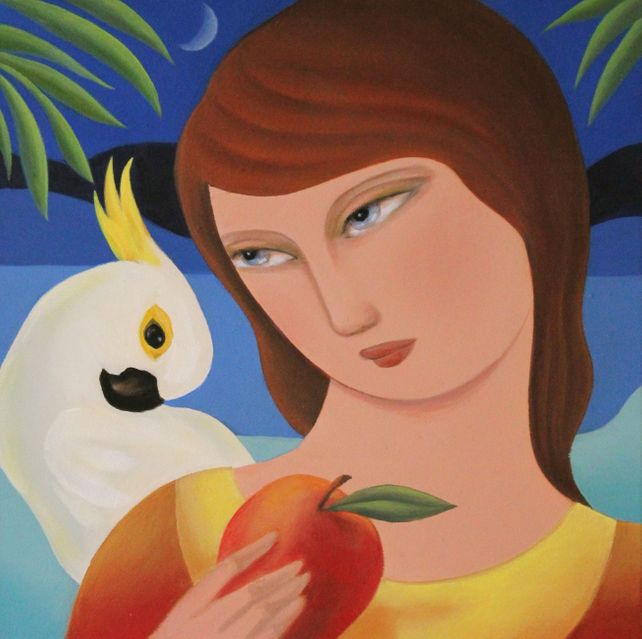 Woman with Cockatoo and Mango