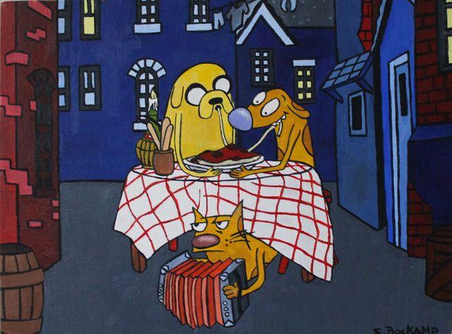 Jake and Catdog Eating Spaghetti