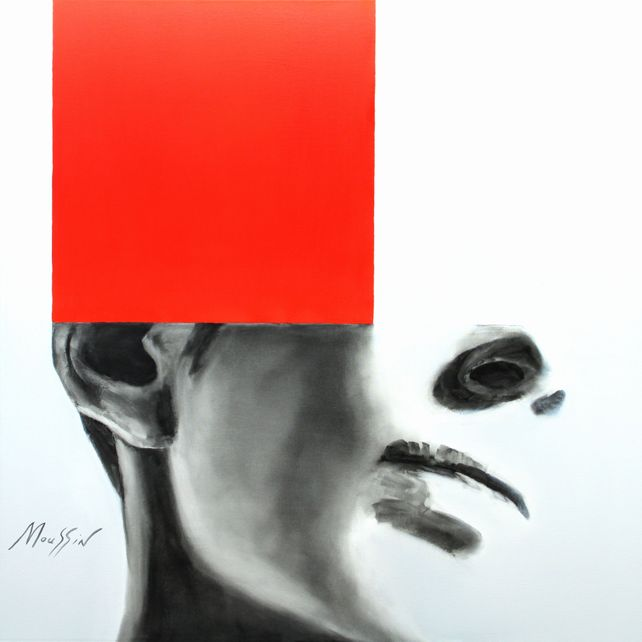 Imagination with red 120 x 120 cm.