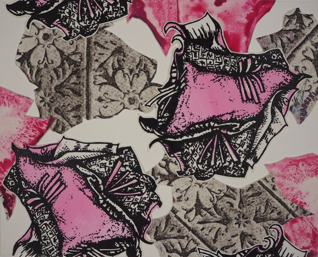 Monoprint Collage: Pink Persuasion